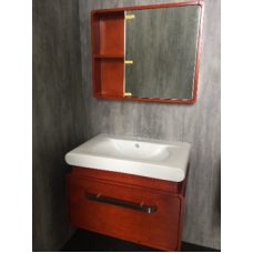 Solid Wood Basin Cabinet c/w Mirror